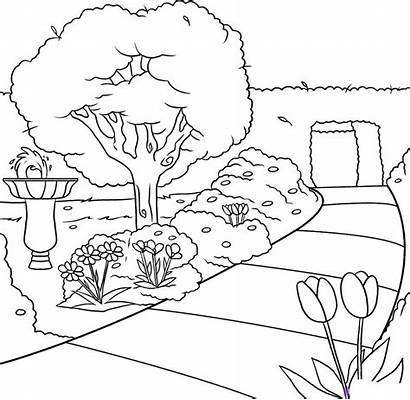 Colorear Paisajes Garden Drawing Dibujos Draw Dibujo