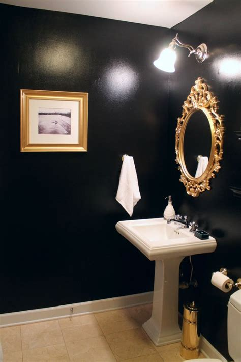 mint love social club black gold guest bathroom