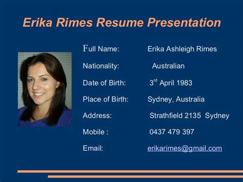 Powerpoint Presentation Resume Slideshow by Erika Rimes Resume Powerpoint