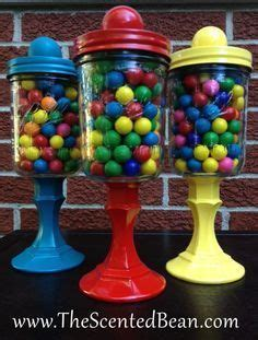 gumball machine  repurposed jars  candlesticks