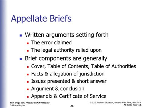 appellate brief table of authorities exle chapter 19 nineteen post trial procedures civ lit 2nd
