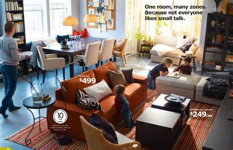 ikea living room with orange couch design interior
