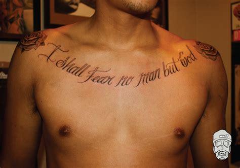 tattoos  men  chest quotes  tattoo