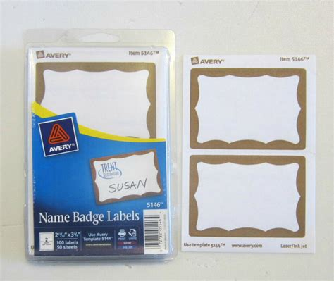 avery dennison gold border badges  tags id labels