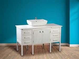 Meuble Vasque Retro : recycler un bureau ancien en meuble vasque l 39 atelier bois ~ Teatrodelosmanantiales.com Idées de Décoration