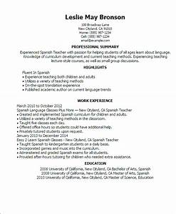 Professional spanish teacher templates to showcase your for Spanish tutor resume sample