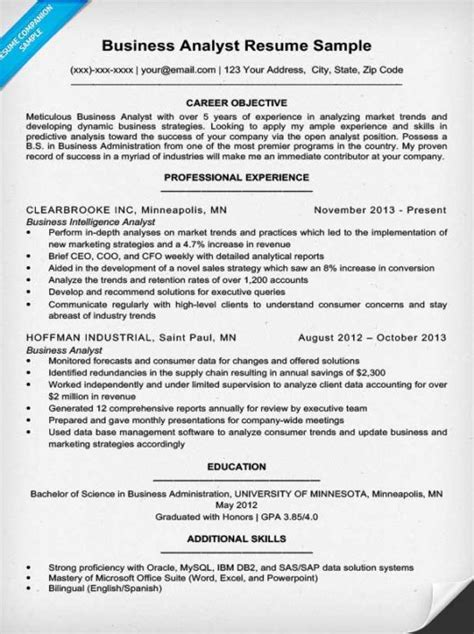 Business Analytics Resume Skills by Business Analyst Resume Sle Writing Tips Resume Companion