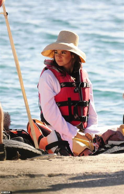 shailene woodley dons  sun hat  life vest