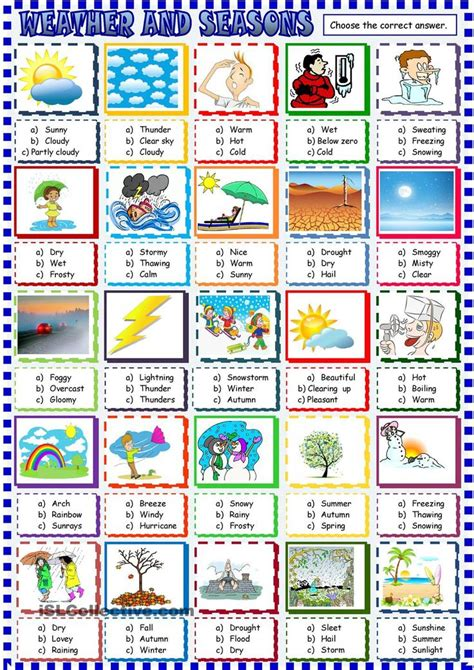 weather and seasons choice activity school time