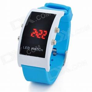 Simple Square Digital LED Wrist Watch - Blue (1 x CR2032 ...