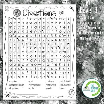 cardinal intermediate directions word search puzzle