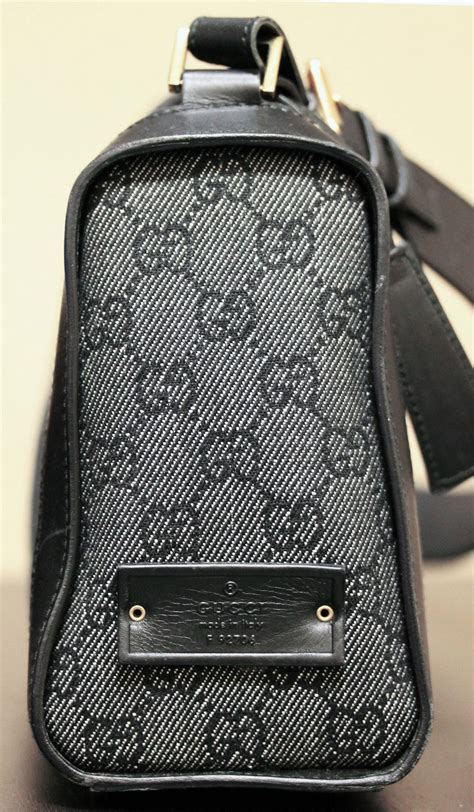 authentic gucci black monogram leather canvas shoulder bag