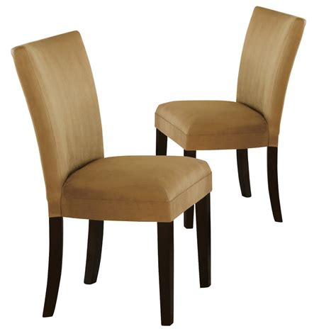 set of 2 parsons dining side chairs gold padded fabric