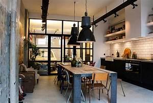 30 exemples de decoration de cuisines au style industriel With extension maison en l 19 cuisine style industriel
