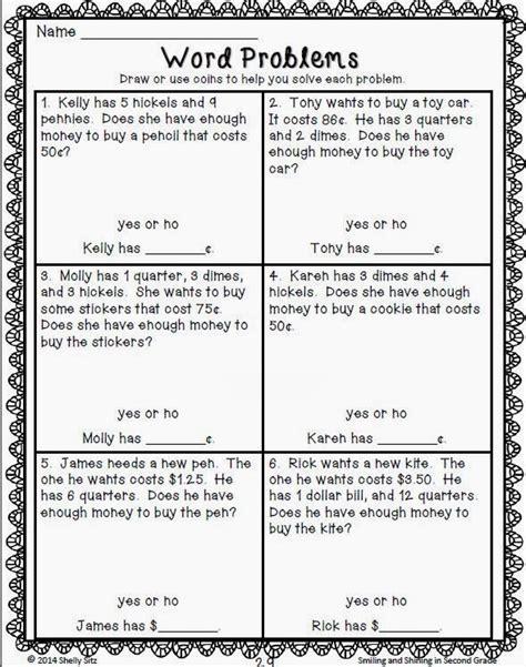2nd grade math money word problems worksheets 2nd grade