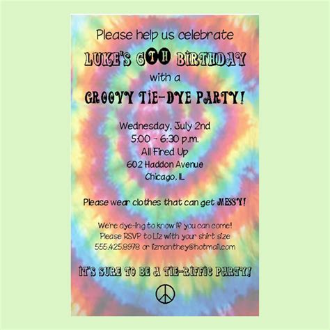 tie dye invitation templates free