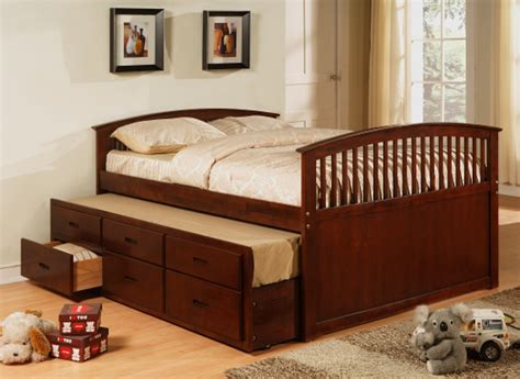 Country Bedroom With Cherry Trundle Storage Platform Bed