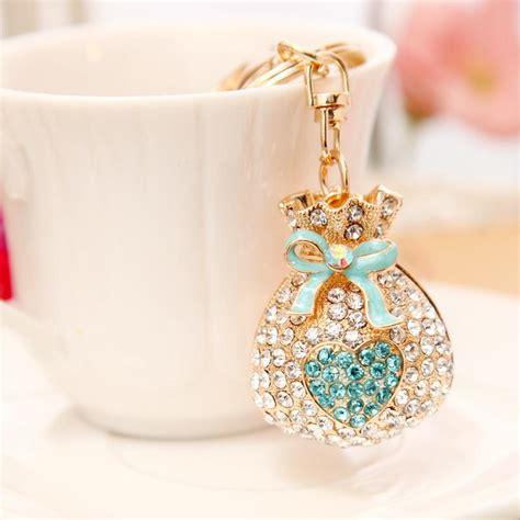 love purse jewelry rhinestones crystal keychain alloy key