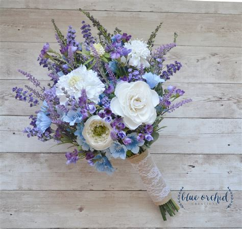Rustic Wedding Bouquet Blue And Lavender Wildflower Bouquet