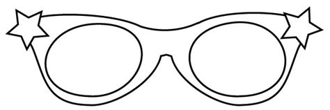 Star Glasses Template Coloring Pages