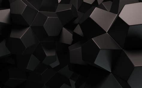 Black Dark Hexagons 3D Render Desktop Wallpaper