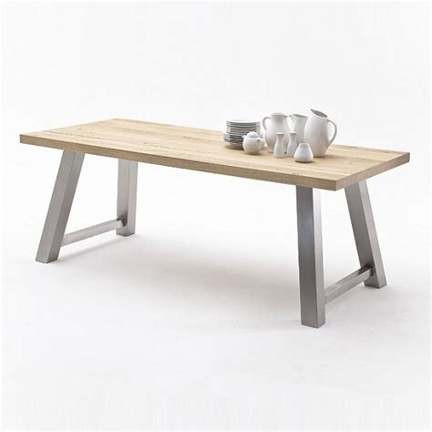 oak and steel dining table alvaro dining table in natural oak and brushed stainless