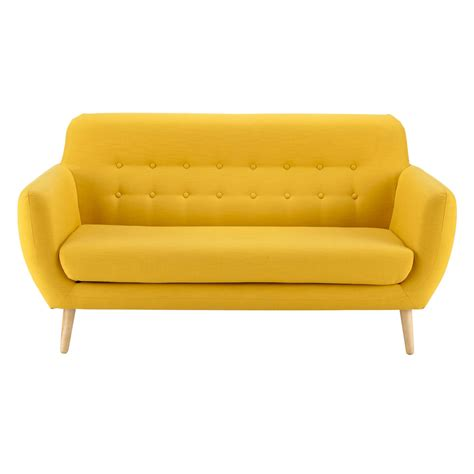 maisons du monde canapé convertible 2 3 seater fabric vintage sofa in yellow iceberg maisons