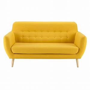 2 3 seater fabric vintage sofa in yellow iceberg maisons With canapé retro 2 places