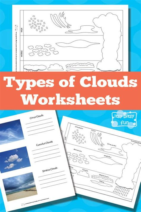 types of clouds worksheets for kids kid and free printable
