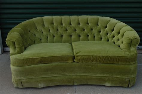 The Loveseat by Vintage Lime Green Loveseat Sofa By Broyhill Tufted Velour