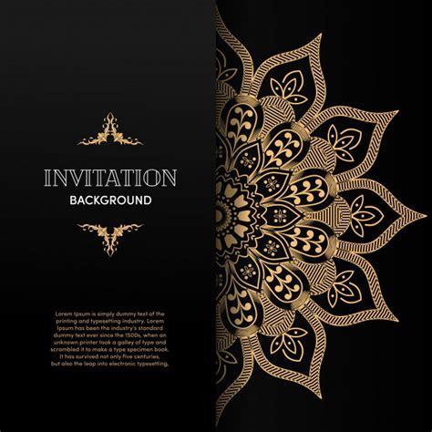 Luxury gold mandala invitation card with black background