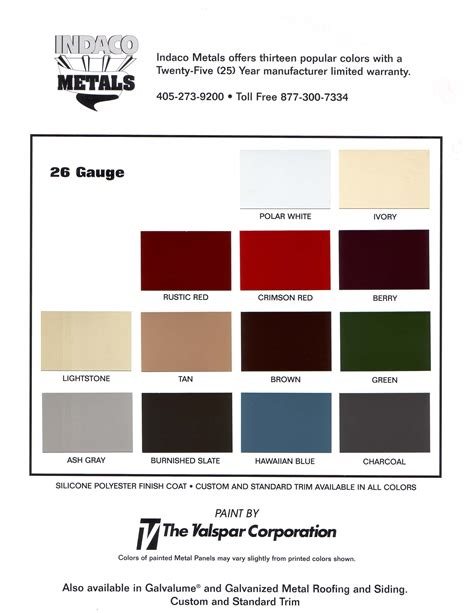 metal colors resources indaco metals metal building and roofing