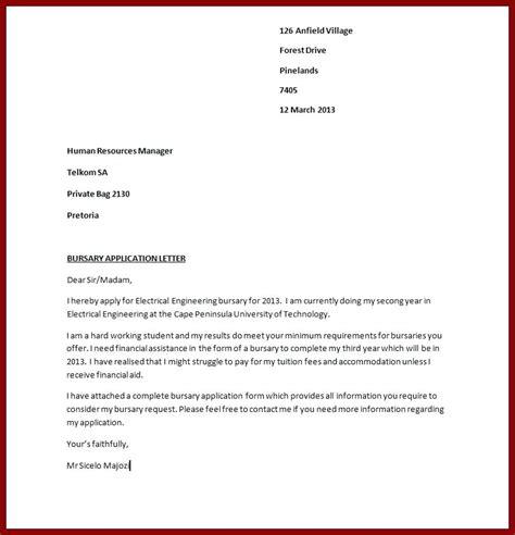 application letter bursary sample   write