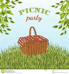 picnic basket set picnic party in meadow with picnic basket and tree