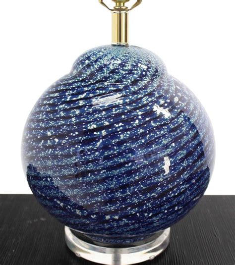 glass globe table l large blue art glass globe table l for sale at 1stdibs