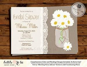 daisy mason jar bridal shower invitation country wedding With mason jar and daisy wedding invitations