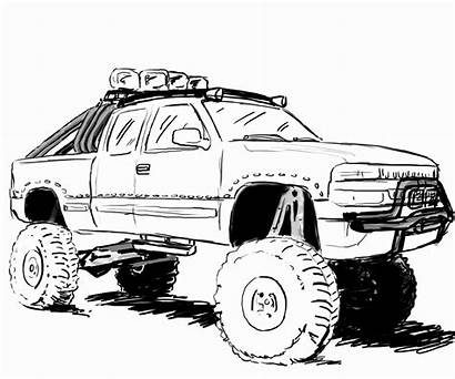 Coloring Truck Pages Lifted Gmc Dodge Jacked