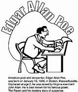 Edgar Poe Allan Coloring Boston Poet Celtics Poems Crayola Famous Allen Printable Drawings Basketball Poem John sketch template