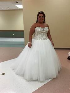 david39s bridal bling princess wedding dress pre owned With plus size bling wedding dresses