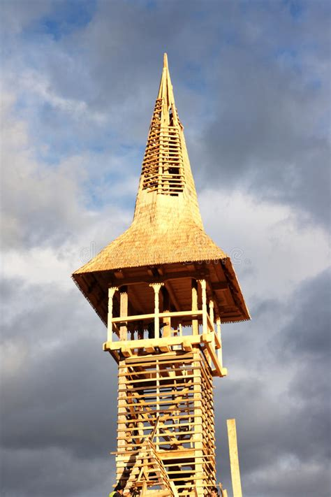 detail  wooden bell tower  built stock image