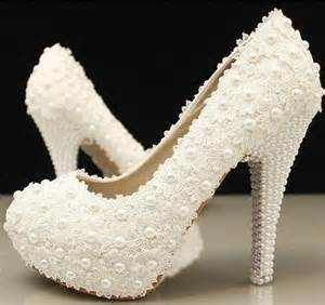 wedding reception shoes handmade ivory lace platform wedding bridal shoes with pearls heels 2053157 weddbook