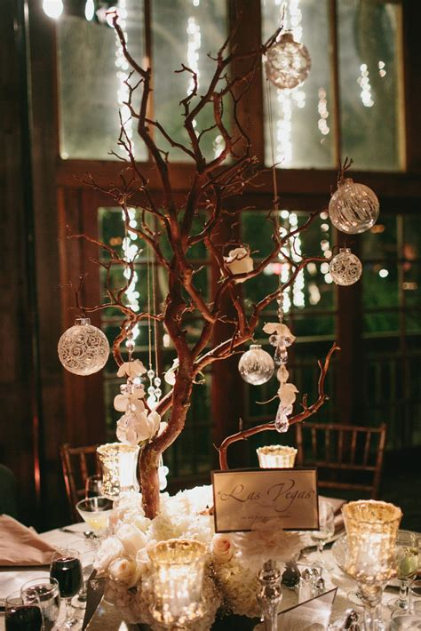 christmas tree centerpiece calamigos ranch malibu wedding christmas in july heavenly blooms