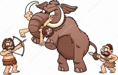 Mammoth Fighting Cavemen Caveman Mammoet Holbewoners Cartoon