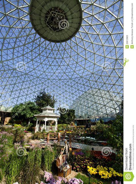 geodesic glass greenhouse stock image image  modern