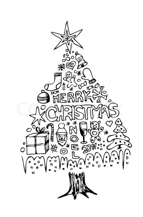 hand drawn christmas tree isolated   white background