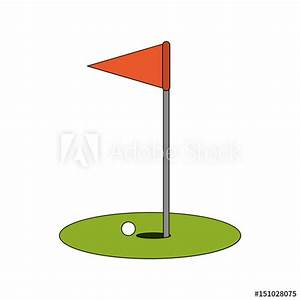 color image cartoon golf flag with hole and ball vector ...