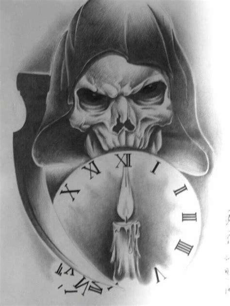 Burning Candle In Clock And Grim Reaper Tattoo Design