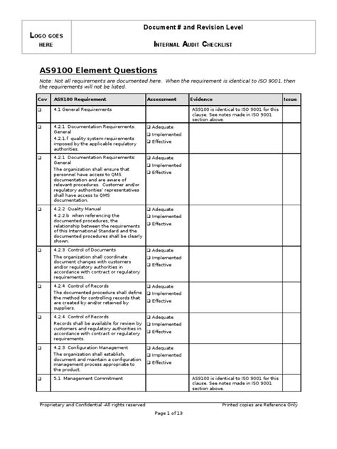 Internal Audit Checklist - AS9100 | Iso 9000