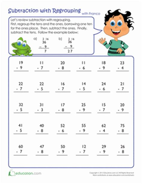 review subtraction with regrouping worksheet education