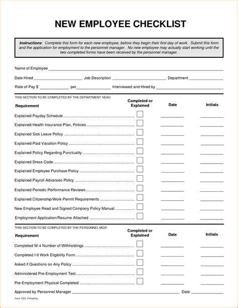 new hire forms template new hire checklist template illustration runnerswebsite